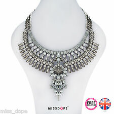 NEW Silver Crystal Statement Necklace Choker Tribal Women Ladies Gypsy Aztec UK