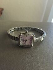 Woman Fossil Watch Mother Of Pearls,Stainless Steel, CZ Stones. New Battery.