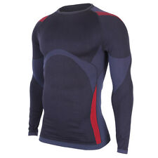 New Mens Compression Under Base Layer Shirt Top Long Sleeve Black 111 M