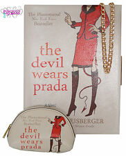 LADIES STYLISH THE DEVIL WEARS PRADA BOOK STYLE CLUTCH BAG WITH MATCHING PURSE