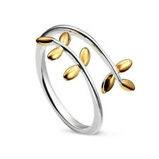 925 Sterling Silver Delicate Petite Cuff Ring w/ 18K Gold Accent Laurel Wreath