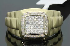 10K YELLOW GOLD .42 CARAT MENS REAL DIAMOND ENGAGEMENT WEDDING PINKY RING BAND