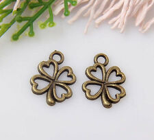 35pcs bronze plated four-leaf clovers pendants 17x13mm #1A1355