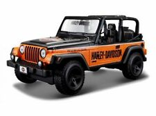 Harley Davidson Custom, Jeep Wrangler Rubicon orange/schwarz, Maisto 1:27