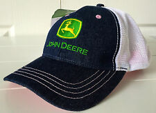 John Deere Ladies Denim and Mesh Hat Cap w Pink Stitching and Vintage Logo