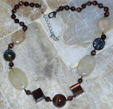 "Natural Yellow Jade, Tiger's Eye Necklace Adjustable 18"" - 20 1/2"" hipster look"