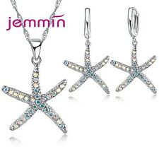 Cute Gift Jewelry Sets AAA+ Rainbow AB Colored Crystal Starfish Necklace+Earring