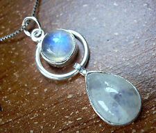 Moonstone Double Gemstone Necklace 925 Sterling Silver Round Teardrop s112c