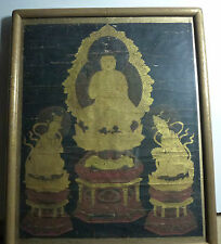 Chinese Rare Old Painting of Buddha Seated on Lotus with 2 Attendants