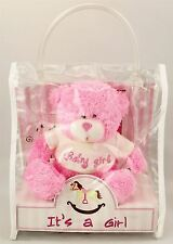 "Plush Pink Teddy Bear 5"" tall-It's A Girl Soft Toy with Bag for Children NewBorn"