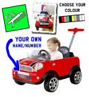 PERSONALISED MINI Cooper FRONT number plate ride on kids' car push buggy NAME