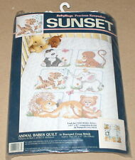 "Dimensions / Ruth Morehead ""Baby Animals"" Stamped Cross Stitch Quilt Kit 34x43"""