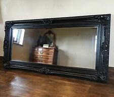 PHEONIX MATT BLACK ORNATE LARGE ROCOCO FRENCH BEVELLED WOOD MIRROR 6FT x 3FT