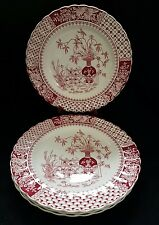(4) antique SPODE Copeland KEW Red/Burgundy collectors Plates