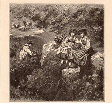 FEMMES SUISSE DANS LE ROSAGE ALPESTRE ALPES SCHWEIZ IMAGE 1912 OLD PRINT