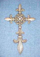 Crosses Silver Fleur de Lis Cross Wall Hanging Decor with Rhinestone Center