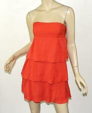 NWT BCBG MAXAZRIA Bright Poppy Ruffle Tiered Strapless Woven Mini Dress S 6
