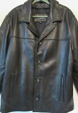 VTG Guess Black Thick Pebbled Leather Barn Car Coat Jacket L Large