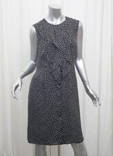 CAROLINA HERRERA Womens Black+White Silk Ruffle Polka-Dot Shift Dress 8/M