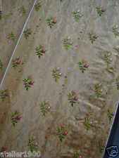 antique hand embroidered golden moire silk for 18th c robe