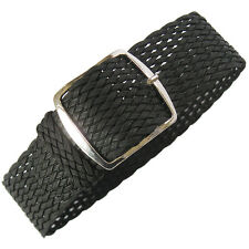 20mm Fluco Germany Mens Black Woven Braided Tropic Nylon Perlon Watch Band Strap