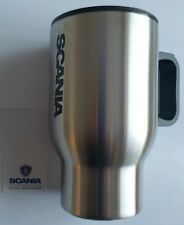 Genuine Scania Logo Truck Brushed Stainless Steel Tall Mug Plastic Lid BNIB New