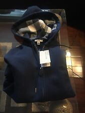 NEW Burberry Men Navy Blue Sweater Chest Logo Nova Check Plaid Hoodie  S $325