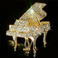 w Swarovski Crystal GRAND PIANO Music Musical Jewelry Gold Plated Pin Brooch New