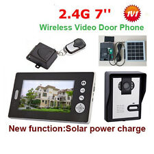 Solar Power 2.4G Wireless Video Door Phone Intercom with 7inch monitor