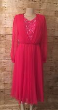 Ursula of Switzerland Vintage Hot Pink Sequin Beaded Formal Evening Dress Size 8