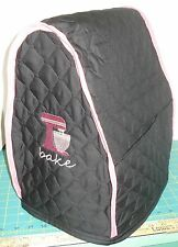 KitchenAid Mixer Appliance Cover~ Black Quilted~ DK Pink Mixer Emblem~Bowl/Tilt~