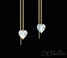 *CKS*  Heart Crystal AB 14K Gold Vermeil Thread Threader Earrings w/ Swarovski