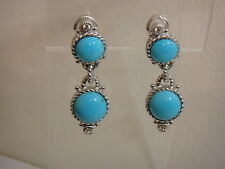 JUDITH RIPKA STERLING TURQUOISE DOUBLE DROP CABOCHON EARRINGS NEW CLIP ON
