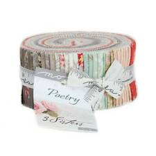 """Moda POETRY PRINTS Jelly Roll 44130JR 40 2.5"""" Quilt Fabric Strips By 3 Sisters"""