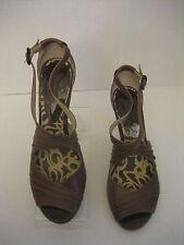 Kenneth Cole Reaction Swing Dance Women's Brown Leather Open Toe Shoe Sz 8