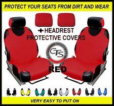 2x CAR SEAT COVER T-SHIRT VEST FRONT + HEADREST RED Fiat 500 500L