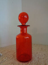 Blenko Art Glass Red Amber Decanter Bottle With Round Stopper