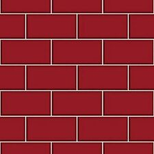 Fine Decor FD40138 Luxury Red Cermica subway Brick Tile Effect Vinyl Wallpaper