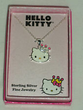 HELLO KITTY STERLING SILVER SWAROVSKI CRYSTALS ENAMEL NECKLACE NIB $135 SALE