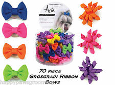 70pc GROSGRAIN MIXED RIBBON HAIR BOW w/Rubber Elastic Band Dog Grooming Top Knot