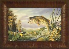 FIRST STRIKE by Terry Doughty Largemouth Bass Fishing 11x15 FRAMED PRINT PICTURE