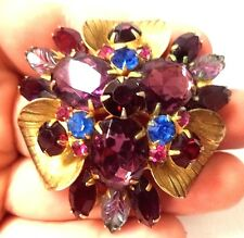 "STUNNING VINTAGE ESTATE JULIANA D&E RHINESTONE FLOWER 2 1/4"" BROOCH!!! G2166"