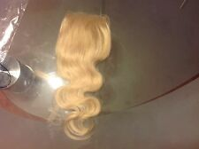 Brazilian Virgin Blonde Lace Closure 12Inch Blonde 613# 4X4 Bleach Knot,Body Wa