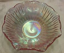 "Iridescent Hue Rose Pink Carnival Glass Bowl 8"" by Smith Glass Company SGC Vintg"