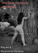 NUDE Girl, Oak Tree, Backside Photograph, Naked Outdoors, DIRECT from Artist