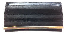 WHOLESALE JOB LOT 12 x WOMENS BLACK FASHION PURSE GOLD BAR AND PATENT STRIPES