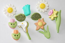 Flower Patch Buttons / Buttons Galore  #4451 / Tulips - Daisy -- Daffodil - Lily