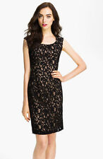ADRIANNA PAPELL CAP SLEEVE LACE SHEATH BLACK/NUDE DRESS sz 2