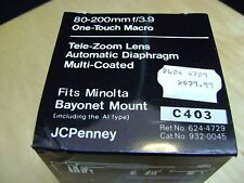 JC PENNEY 80-200mm F3.9 MINOLTA BAYONET MOUNT MULTI-COATED LENS NOS