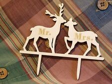 Mr & Mrs Wooden Deer Stag Cake Topper Wedding Accessories Scottish Theme